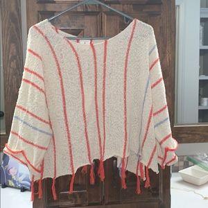 3/4 sleeve fringe crop sweater